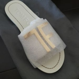 Tom Ford white gold  initial Sandal